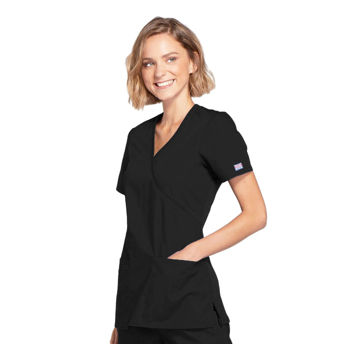 Cherokee Workwear WW650 Scrubs Top Women's Mock Wrap Black 4XL
