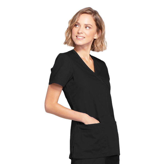 Cherokee Workwear WW650 Scrubs Top Women's Mock Wrap Black 5XL