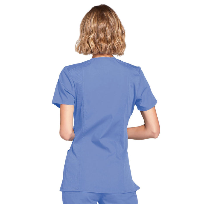Cherokee Workwear WW650 Scrubs Top Women's Mock Wrap Ciel Blue 3XL