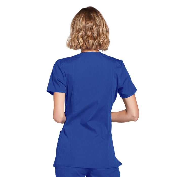 Cherokee Workwear WW650 Scrubs Top Women's Mock Wrap Royal 3XL
