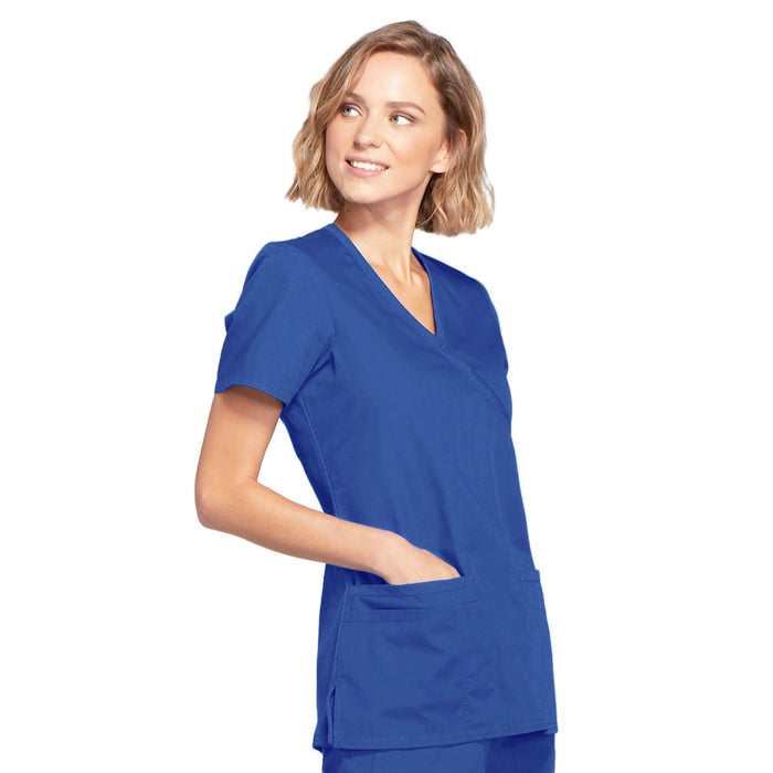 Cherokee Workwear WW650 Scrubs Top Women's Mock Wrap Royal 5XL