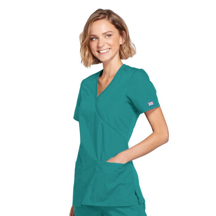 Cherokee Workwear WW650 Scrubs Top Women's Mock Wrap Teal Blue 4XL