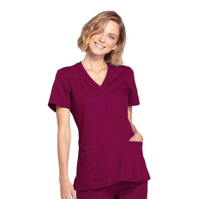 Cherokee Workwear WW650 Scrubs Top Women's Mock Wrap Wine
