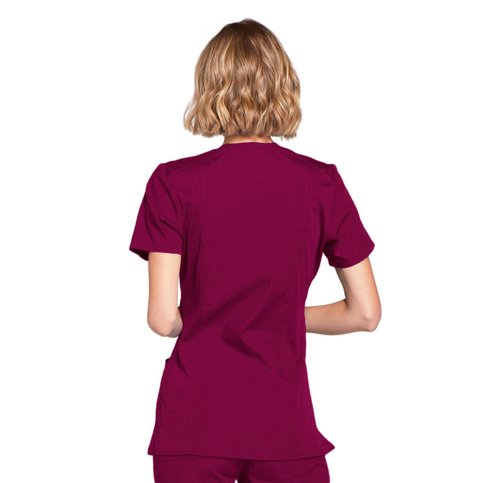 Cherokee Workwear WW650 Scrubs Top Women's Mock Wrap Wine 3XL