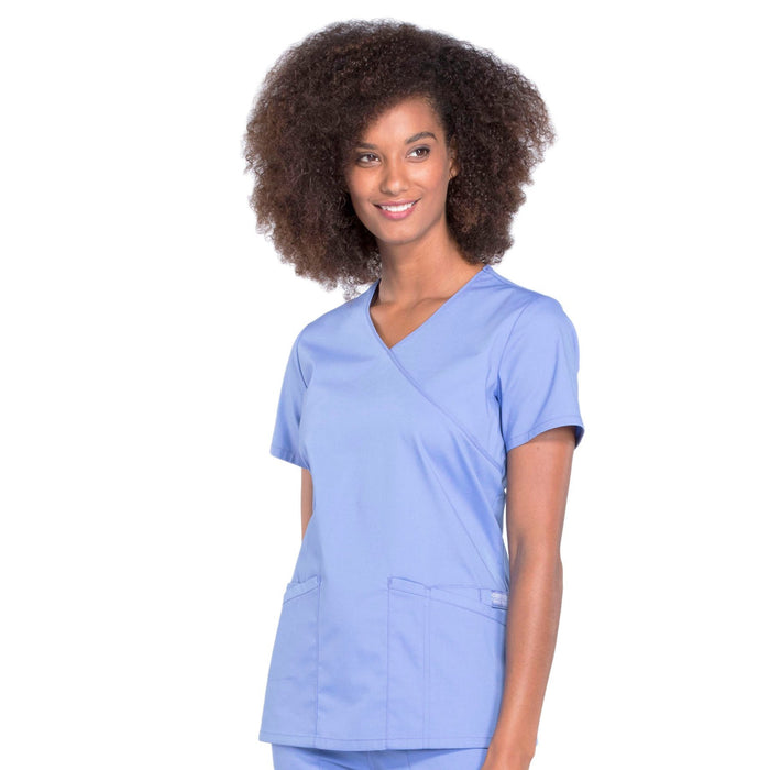Cherokee Workwear Professionals WW655 Scrubs Top Women's Mock Wrap Ciel Blue