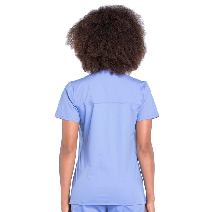 Cherokee Workwear Professionals WW655 Scrubs Top Women's Mock Wrap Ciel Blue 3XL