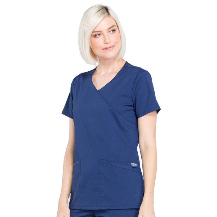 Cherokee Workwear Professionals WW655 Scrubs Top Women's Mock Wrap Navy 4XL