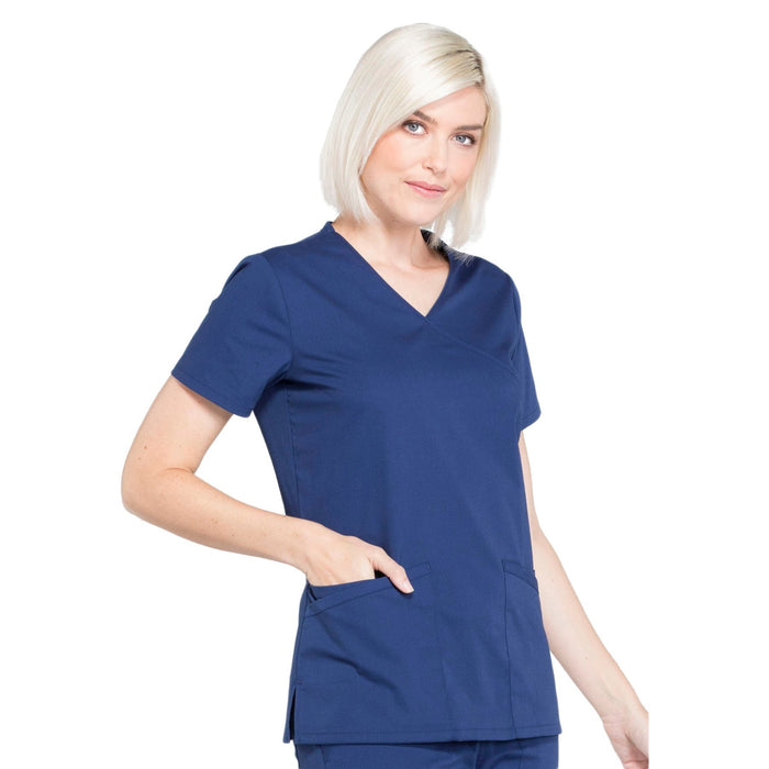 Cherokee Workwear Professionals WW655 Scrubs Top Women's Mock Wrap Navy 5XL