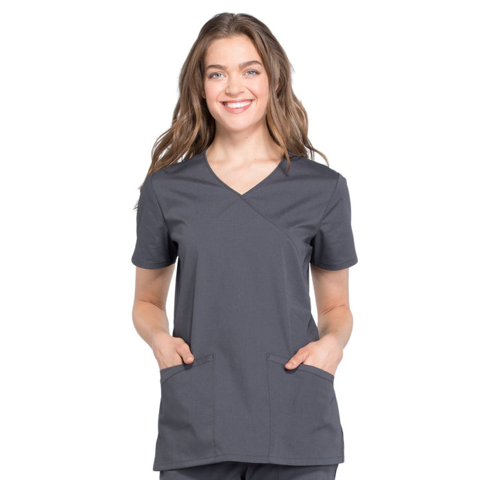 Cherokee Workwear Professionals WW655 Scrubs Top Women's Mock Wrap Pewter