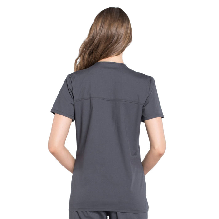 Cherokee Workwear Professionals WW655 Scrubs Top Women's Mock Wrap Pewter 3XL