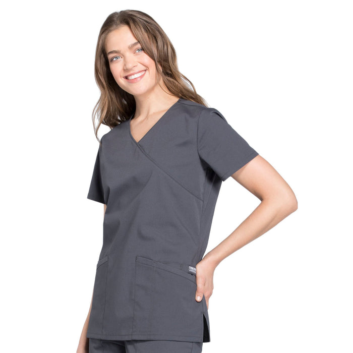 Cherokee Workwear Professionals WW655 Scrubs Top Women's Mock Wrap Pewter 4XL
