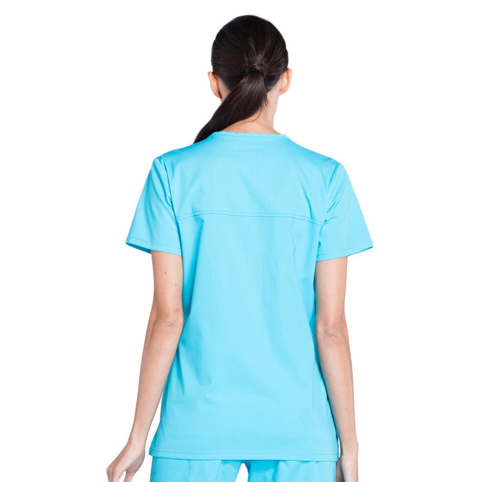 Cherokee Workwear Professionals WW655 Scrubs Top Women's Mock Wrap Turquoise 3XL