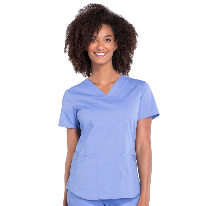 Cherokee Workwear Professionals WW665 Scrubs Top Women's V-Neck Ciel Blue