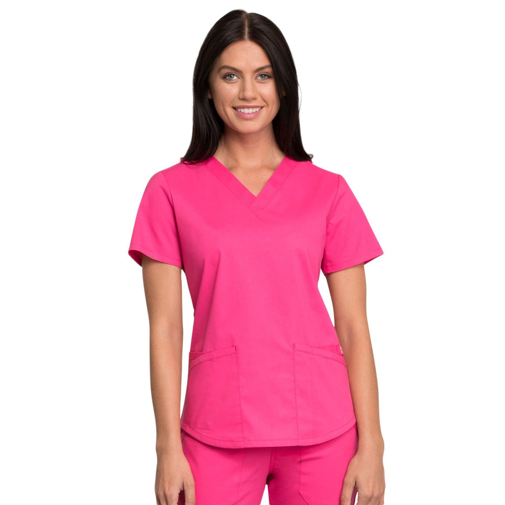Cherokee Workwear Professionals WW665 Scrubs Top Women's V-Neck Electric Pink