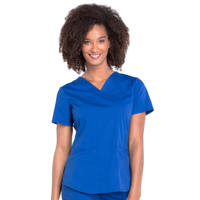 Cherokee Workwear Professionals WW665 Scrubs Top Women's V-Neck Galaxy Blue