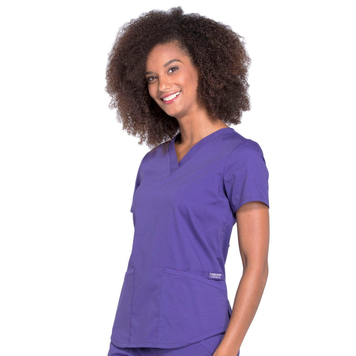 Cherokee Workwear Professionals WW665 Scrubs Top Women's V-Neck Grape 4XL