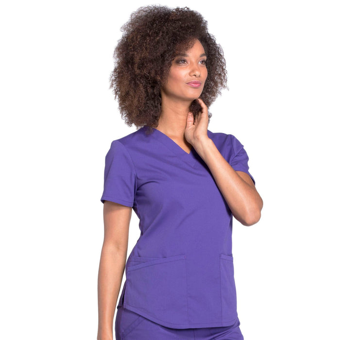 Cherokee Workwear Professionals WW665 Scrubs Top Women's V-Neck Grape 5XL