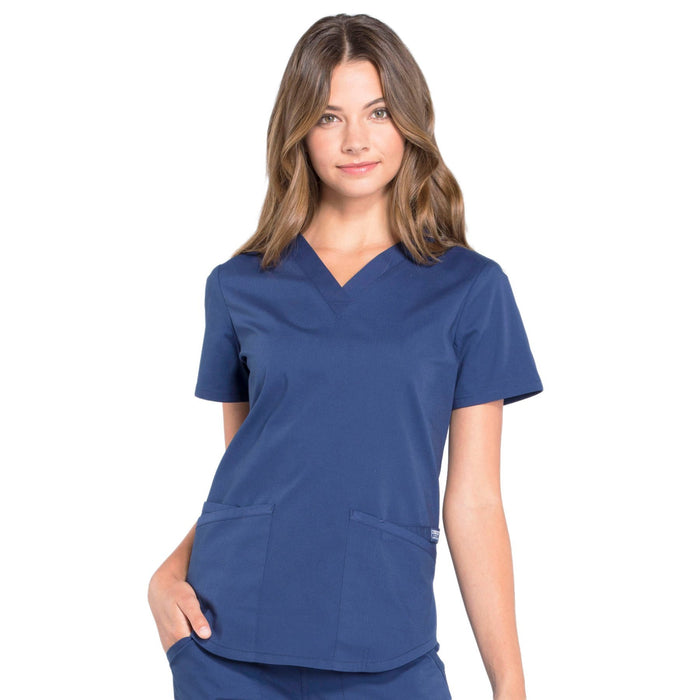Cherokee Workwear Professionals WW665 Scrubs Top Women's V-Neck Navy
