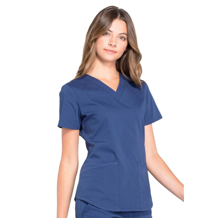 Cherokee Workwear Professionals WW665 Scrubs Top Women's V-Neck Navy 5XL