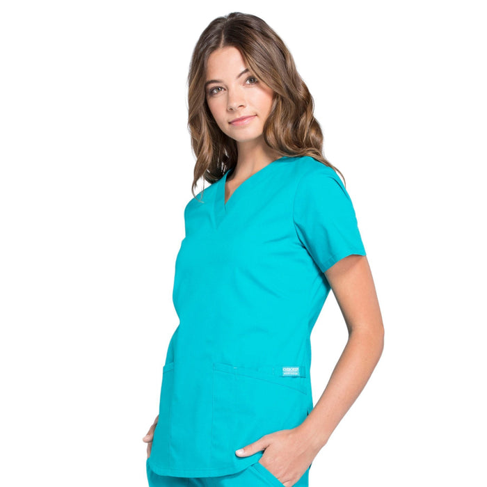 Cherokee Workwear Professionals WW665 Scrubs Top Women's V-Neck Teal Blue 4XL