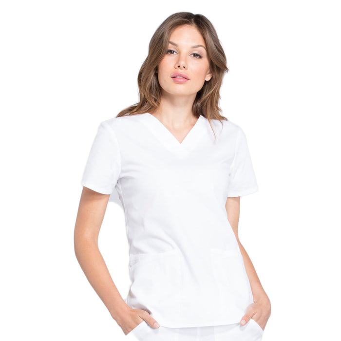 Cherokee Workwear Professionals WW665 Scrubs Top Women's V-Neck White