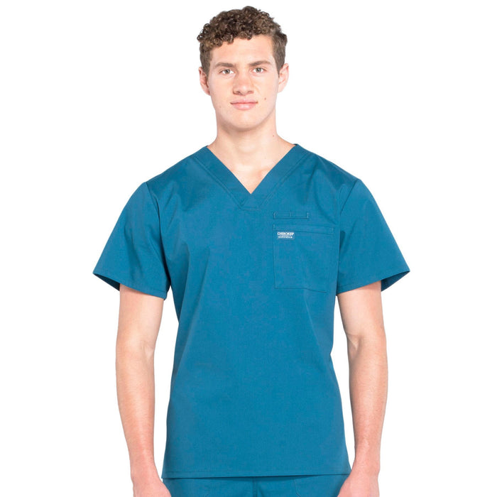 Cherokee Workwear Professionals WW675 Scrubs Top Men's V-Neck Caribbean Blue