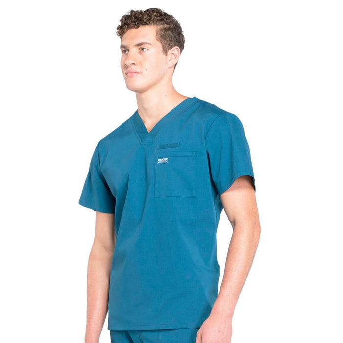 Cherokee Workwear Professionals WW675 Scrubs Top Men's V-Neck Caribbean Blue 4XL