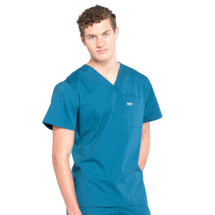 Cherokee Workwear Professionals WW675 Scrubs Top Men's V-Neck Caribbean Blue 5XL
