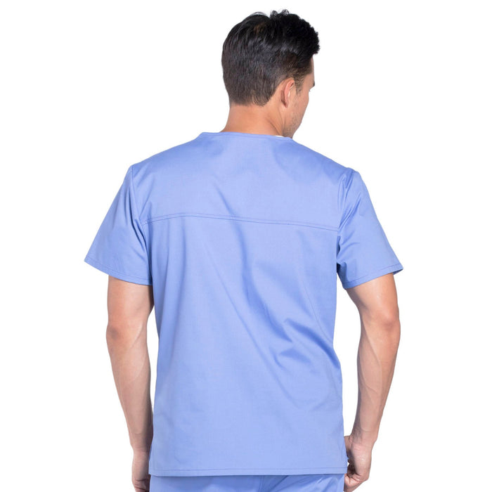 Cherokee Workwear Professionals WW675 Scrubs Top Men's V-Neck Ciel Blue 3XL