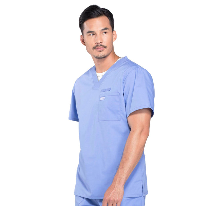 Cherokee Workwear Professionals WW675 Scrubs Top Men's V-Neck Ciel Blue 4XL