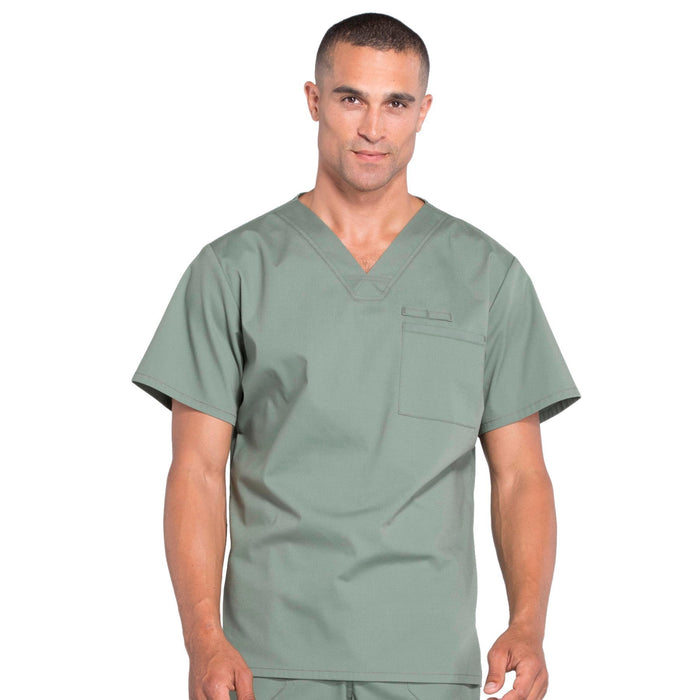 Cherokee Workwear Professionals WW675 Scrubs Top Men's V-Neck Olive
