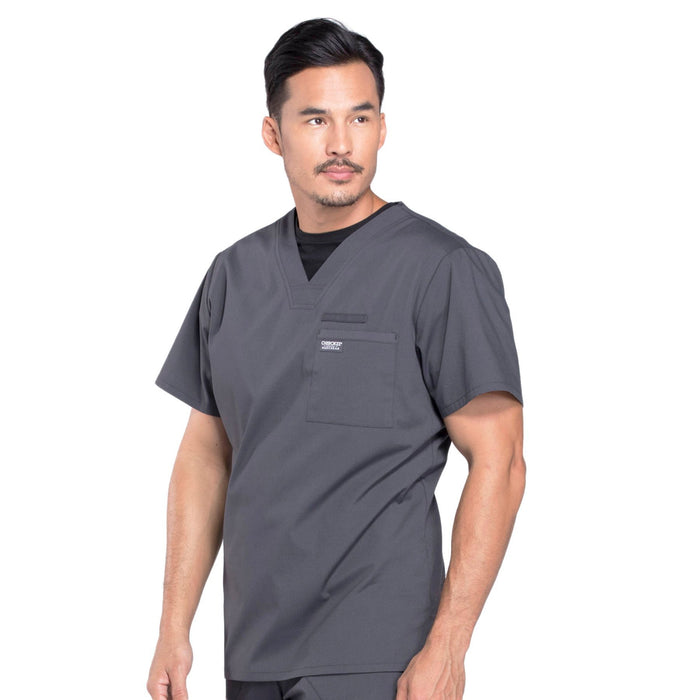 Cherokee Workwear Professionals WW675 Scrubs Top Men's V-Neck Pewter 4XL