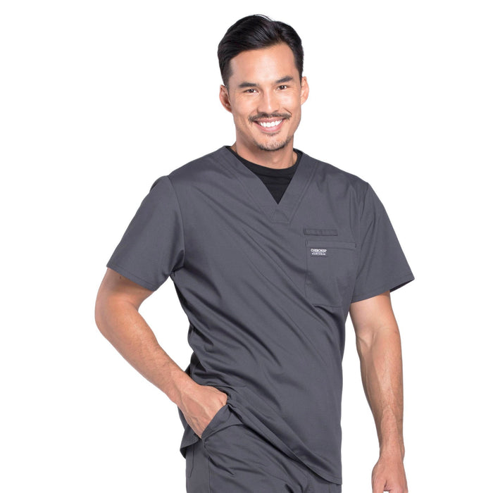 Cherokee Workwear Professionals WW675 Scrubs Top Men's V-Neck Pewter 5XL