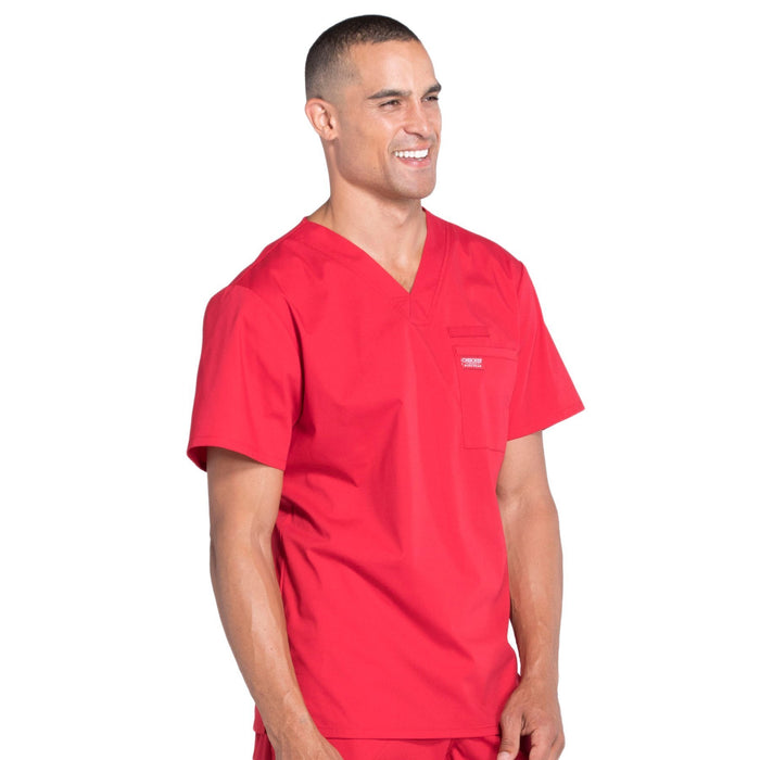 Cherokee Workwear Professionals WW675 Scrubs Top Men's V-Neck Red 5XL