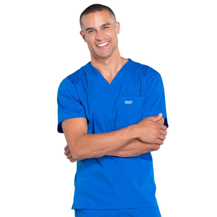 Cherokee Workwear Professionals WW675 Scrubs Top Men's V-Neck Royal