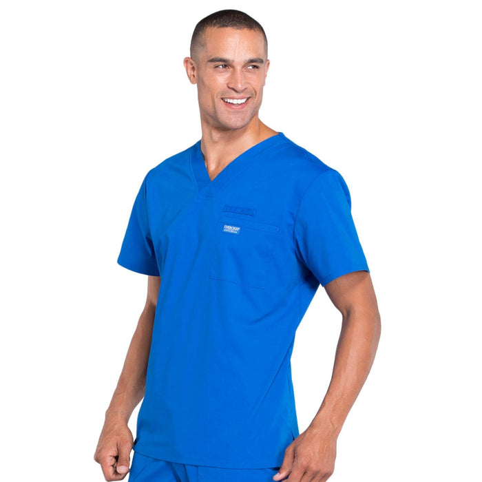 Cherokee Workwear Professionals WW675 Scrubs Top Men's V-Neck Royal 4XL
