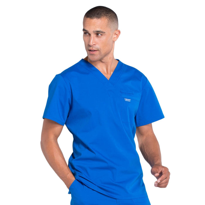Cherokee Workwear Professionals WW675 Scrubs Top Men's V-Neck Royal 5XL