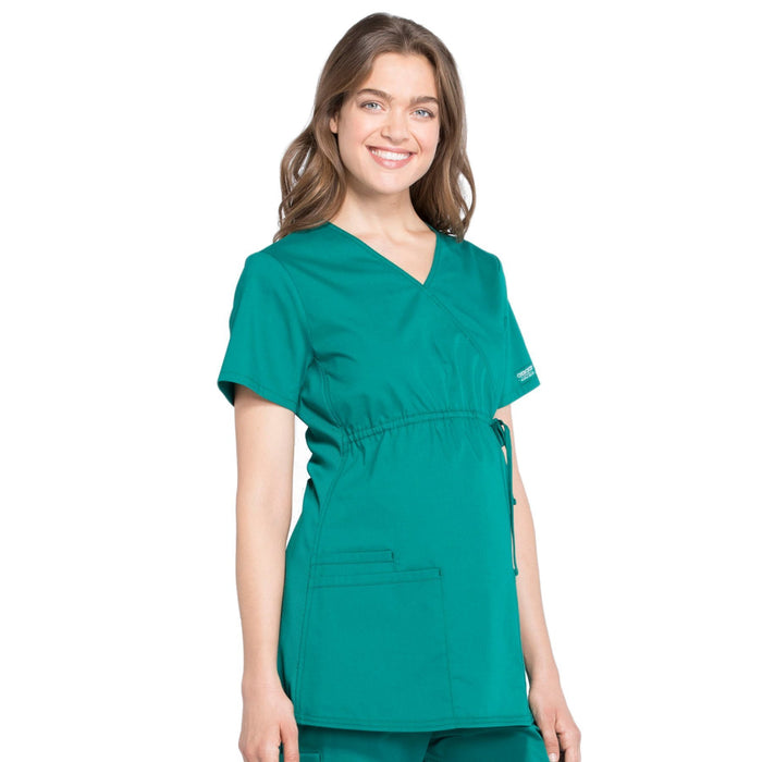 Cherokee Workwear Professionals WW685 Scrubs Top Maternity Mock Wrap Hunter Green M