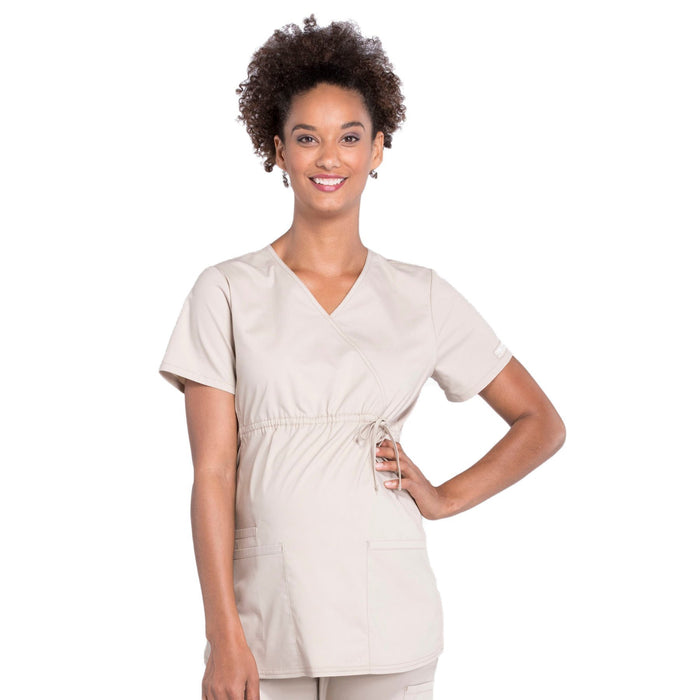 Cherokee Workwear Professionals WW685 Scrubs Top Maternity Mock Wrap Khaki
