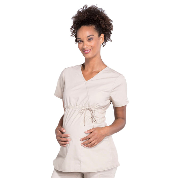 Cherokee Workwear Professionals WW685 Scrubs Top Maternity Mock Wrap Khaki L