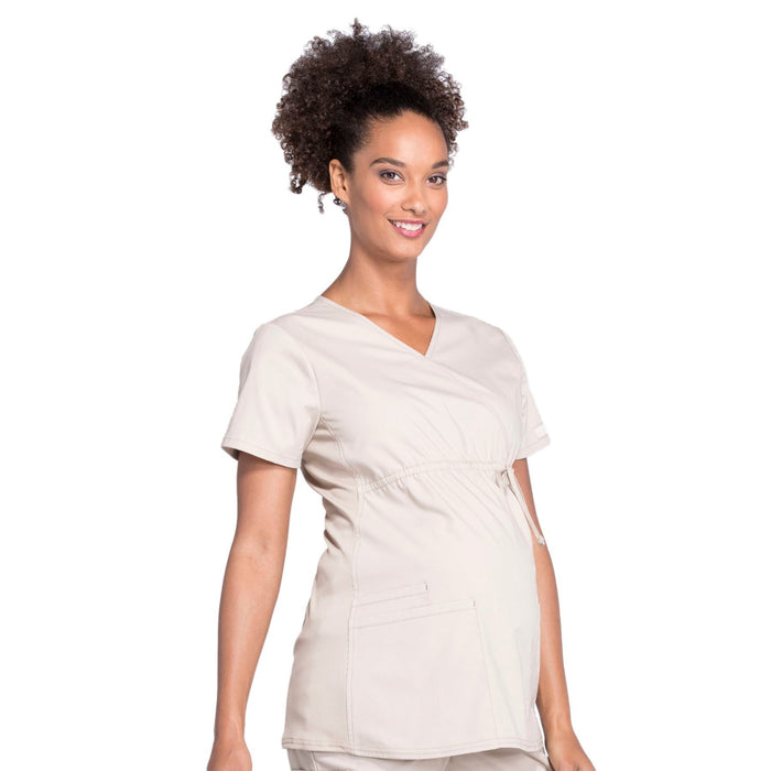 Cherokee Workwear Professionals WW685 Scrubs Top Maternity Mock Wrap Khaki M