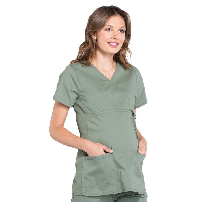 Cherokee Workwear Professionals WW685 Scrubs Top Maternity Mock Wrap Olive M