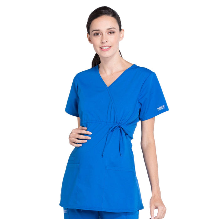 Cherokee Workwear Professionals WW685 Scrubs Top Maternity Mock Wrap Royal