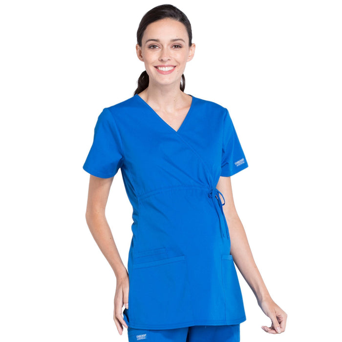 Cherokee Workwear Professionals WW685 Scrubs Top Maternity Mock Wrap Royal M