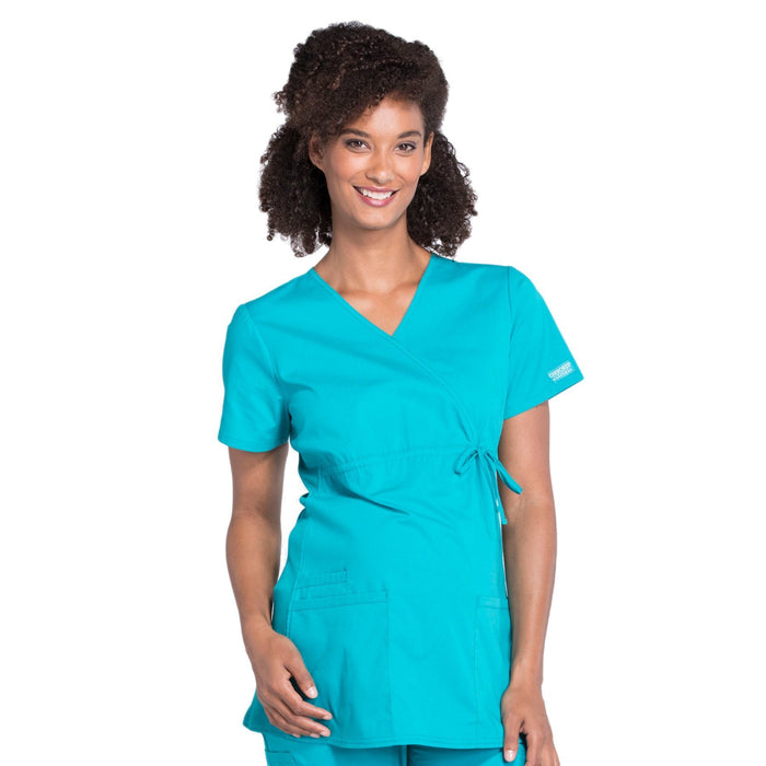 Cherokee Workwear Professionals WW685 Scrubs Top Maternity Mock Wrap Teal Blue