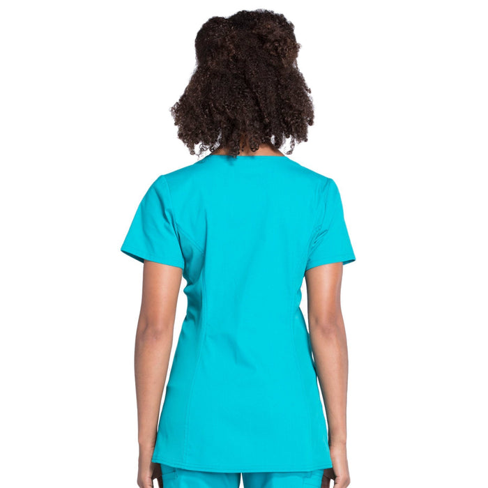 Cherokee Workwear Professionals WW685 Scrubs Top Maternity Mock Wrap Teal Blue 3XL