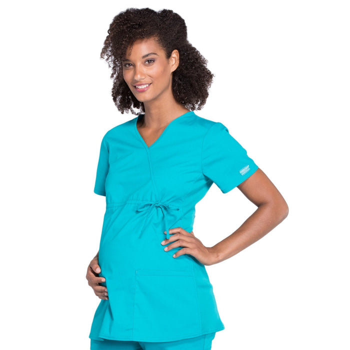 Cherokee Workwear Professionals WW685 Scrubs Top Maternity Mock Wrap Teal Blue M