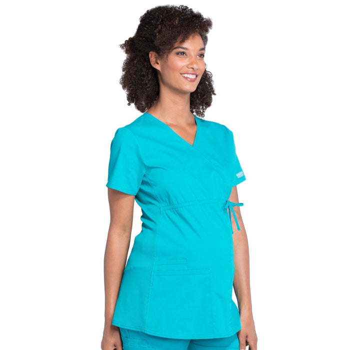 Cherokee Workwear Professionals WW685 Scrubs Top Maternity Mock Wrap Teal Blue S