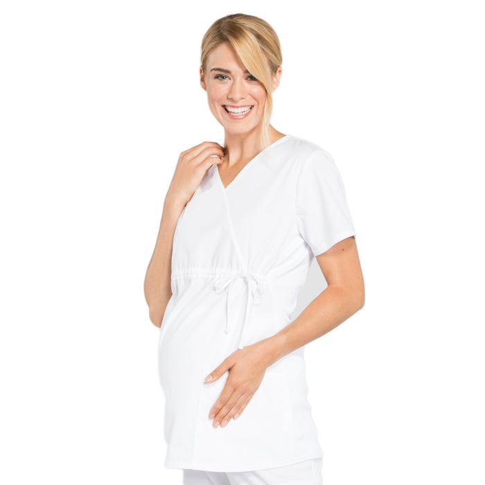 Cherokee Workwear Professionals WW685 Scrubs Top Maternity Mock Wrap White L