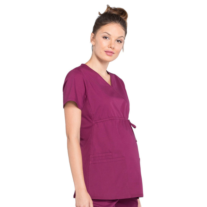 Cherokee Workwear Professionals WW685 Scrubs Top Maternity Mock Wrap Wine M